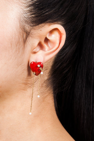 Beatriz Palacios Enamel Heart Earrings