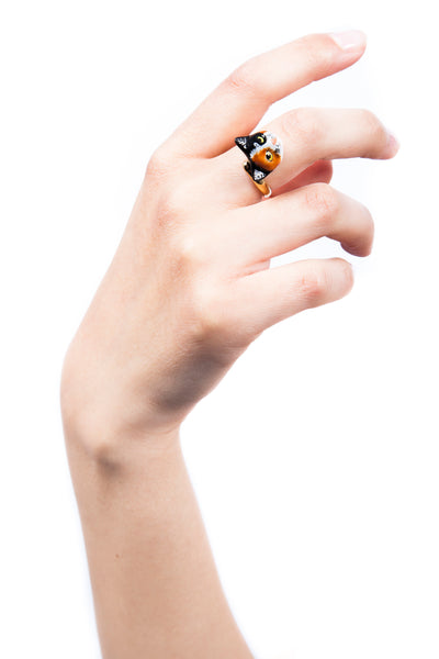 Iris Trends Gold Calico Cat Ring by Nach Bijoux France