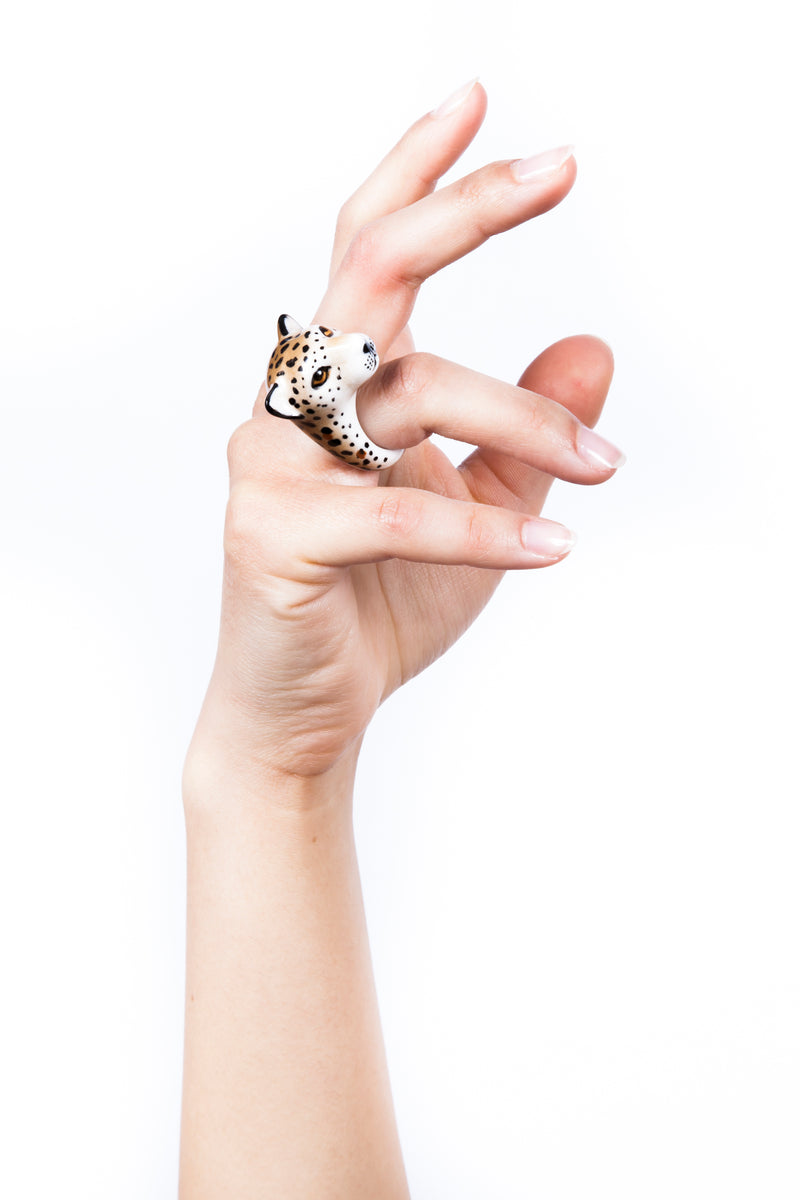 Model Hand Wearing Iris Trends Porcelain Cheetah Ring by Nach Bijoux France