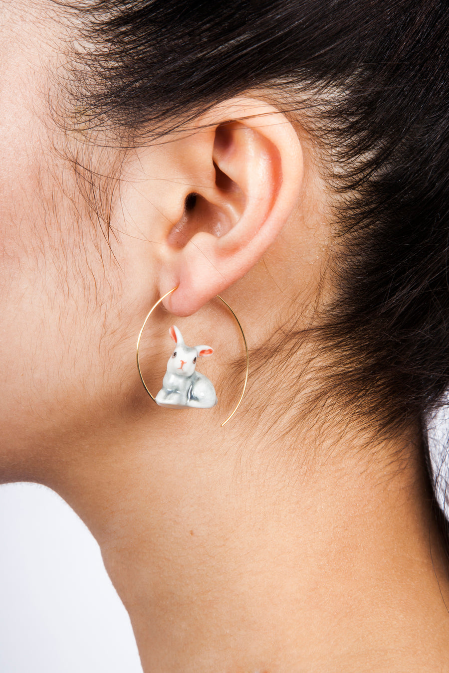 Gray Rabbit Earrings