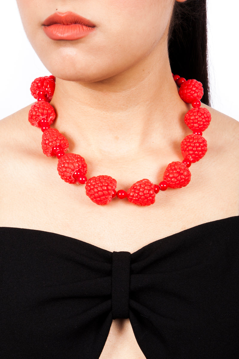 Raspberry Necklace Berry Necklace Fruit Jewelry