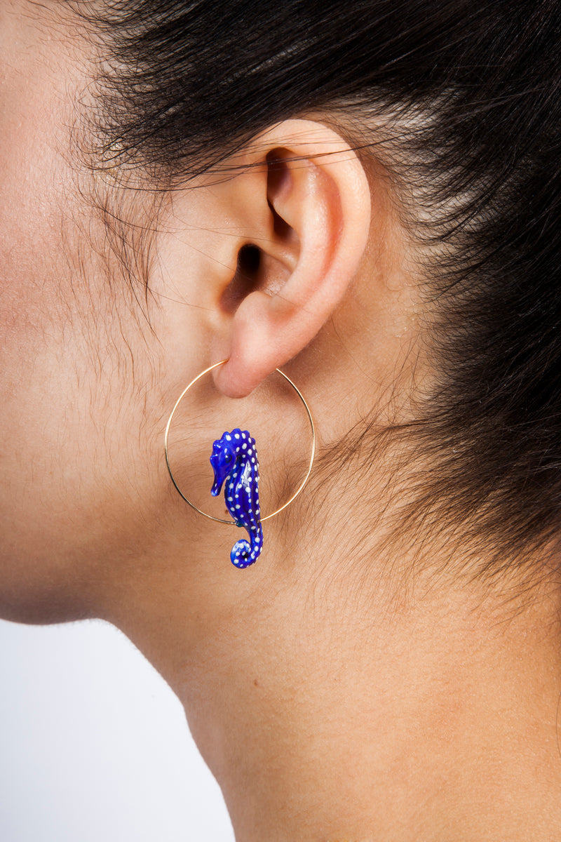 Iris Trends Blue Hoop Seahorse Earrings by Nach Bijoux France