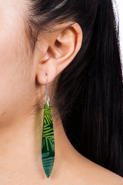 Green Dip Conifer Earrings