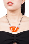 Orange Hydrangea Pendant Necklace