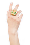 Valliyan India Jewelry Green Stone Ring Gold