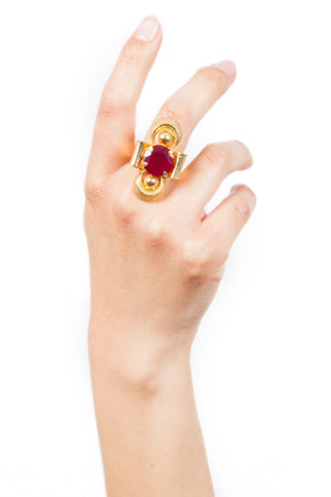 Valliyan India Jewelry Red Stone Ring Gold