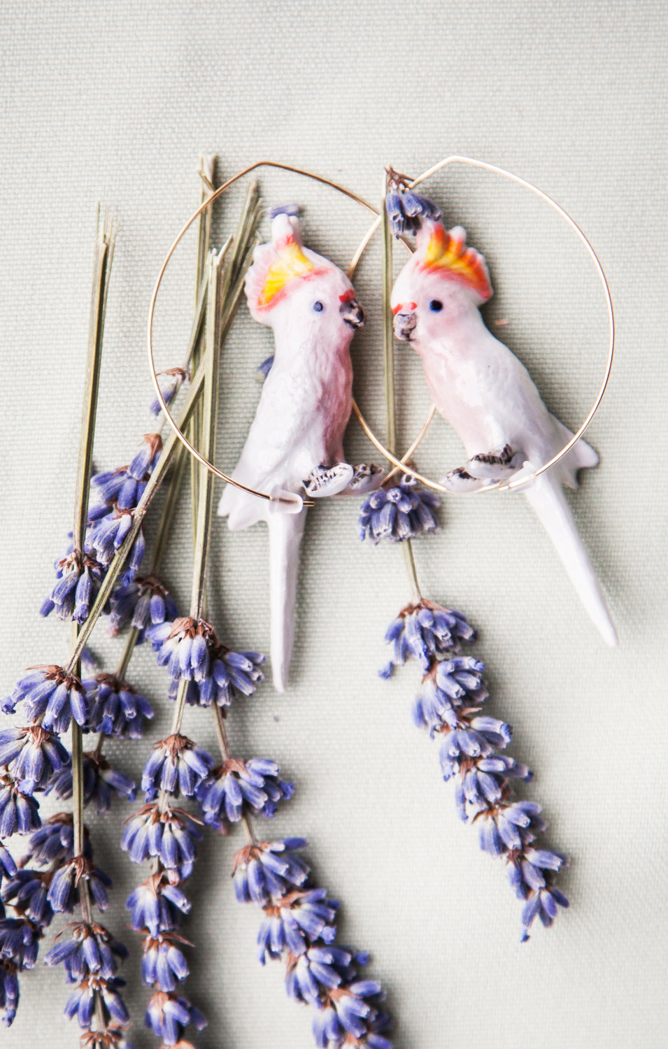 Pink Cockatoo Hoop Earrings