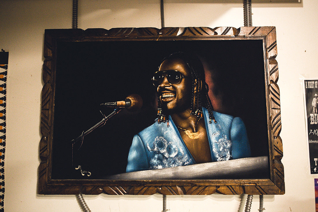 Stevie Wonder Velvet Painting