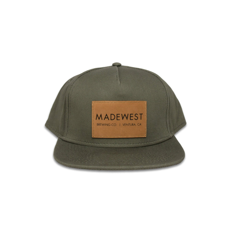 Leather Patch Hat - Olive Green - Hat - MadeWest Brewery