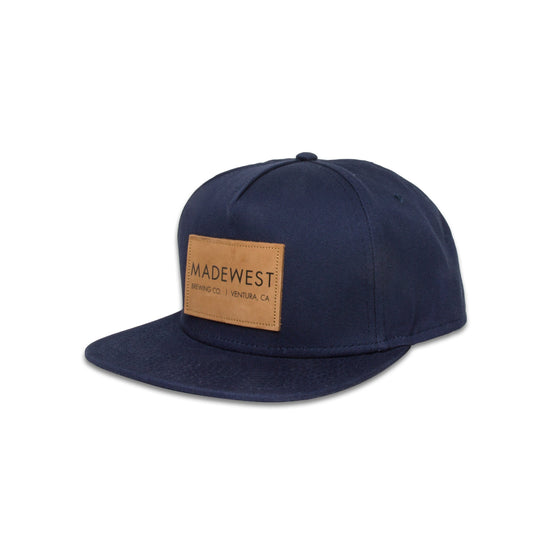 Leather Patch Hat - Navy - Hat - MadeWest Brewery