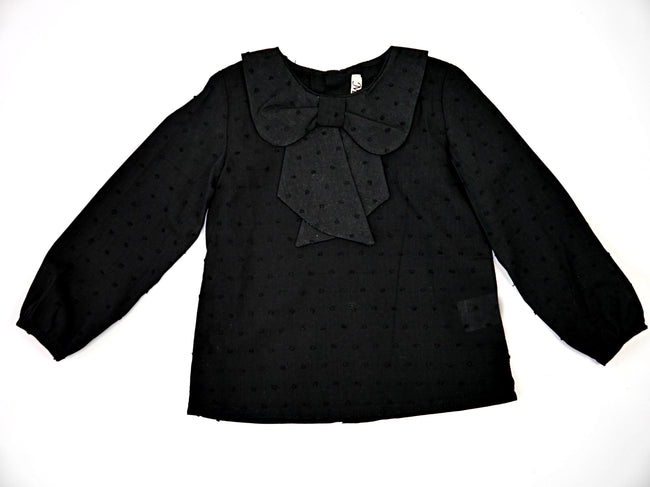 Girl Black Bow Blouse