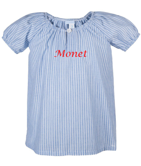 Little Girl Short Sleeve Blue Blouse