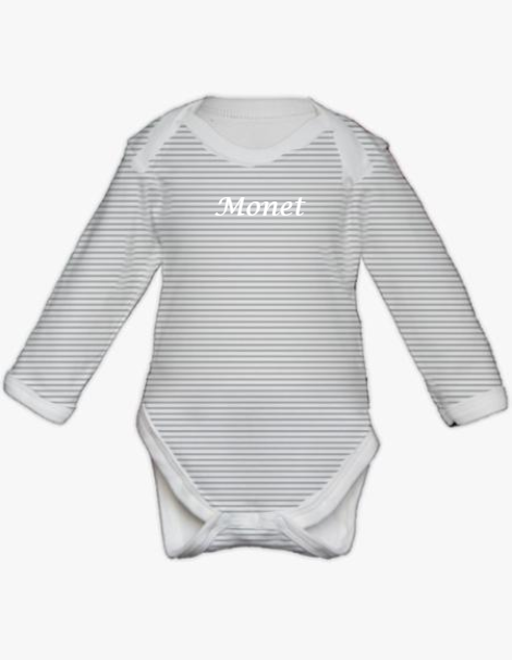 Long Sleeve Bodysuit - Silver Stripe