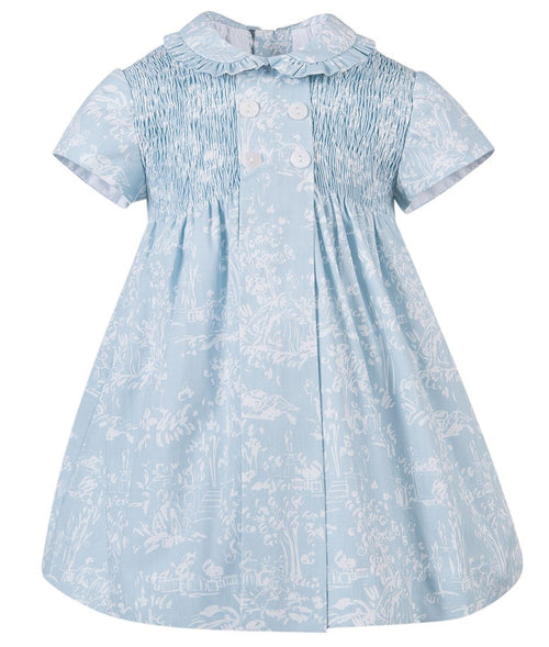Hand Smocked Baby Blue Dress