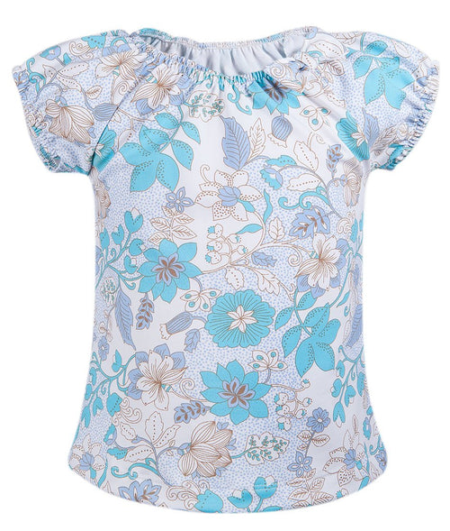 Girls Light Blue Floral Blouse