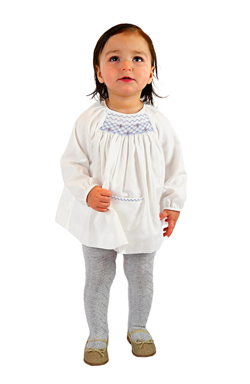 White Baby Smock Dress & Bloomer Set