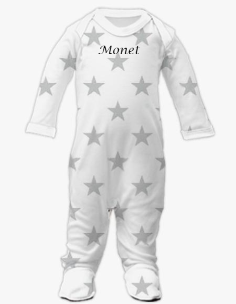 Plain Front Sleepsuit - Silver Star