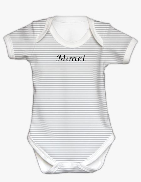 Short Sleeve Bodysuit - Silver Stripe