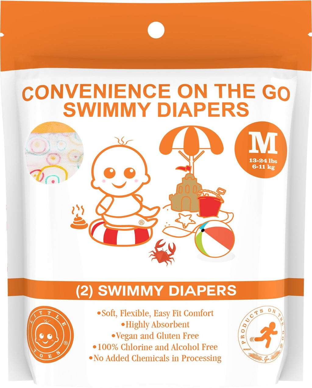 Little Toes Convenience On The Go 2x Swimmy Diapers Medium size