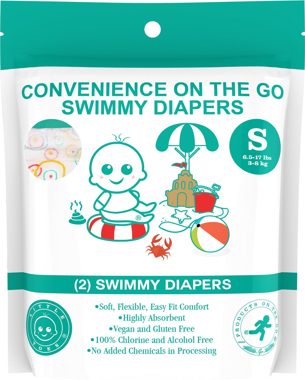Little Toes Convenience On The Go 2x Swimmy Diapers