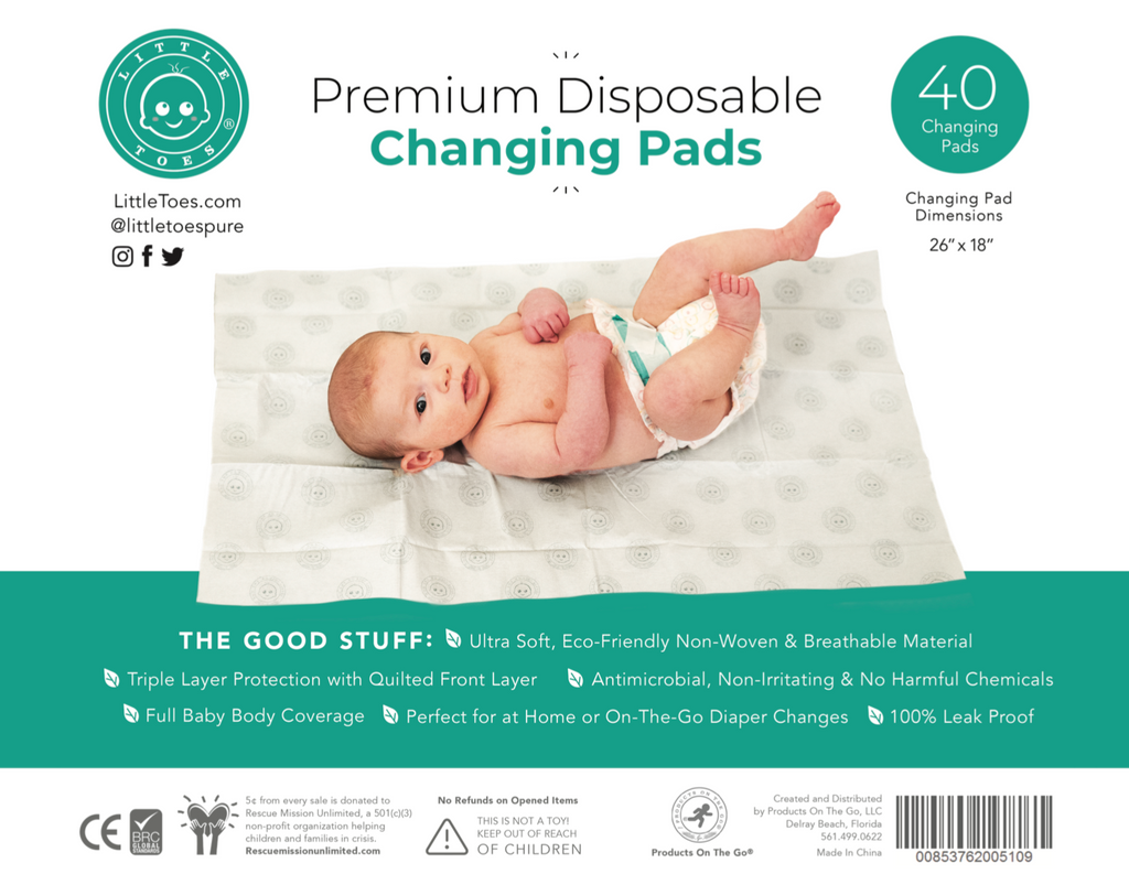 Little Toes Premium Disposable Baby Changing Pads (40 Count)