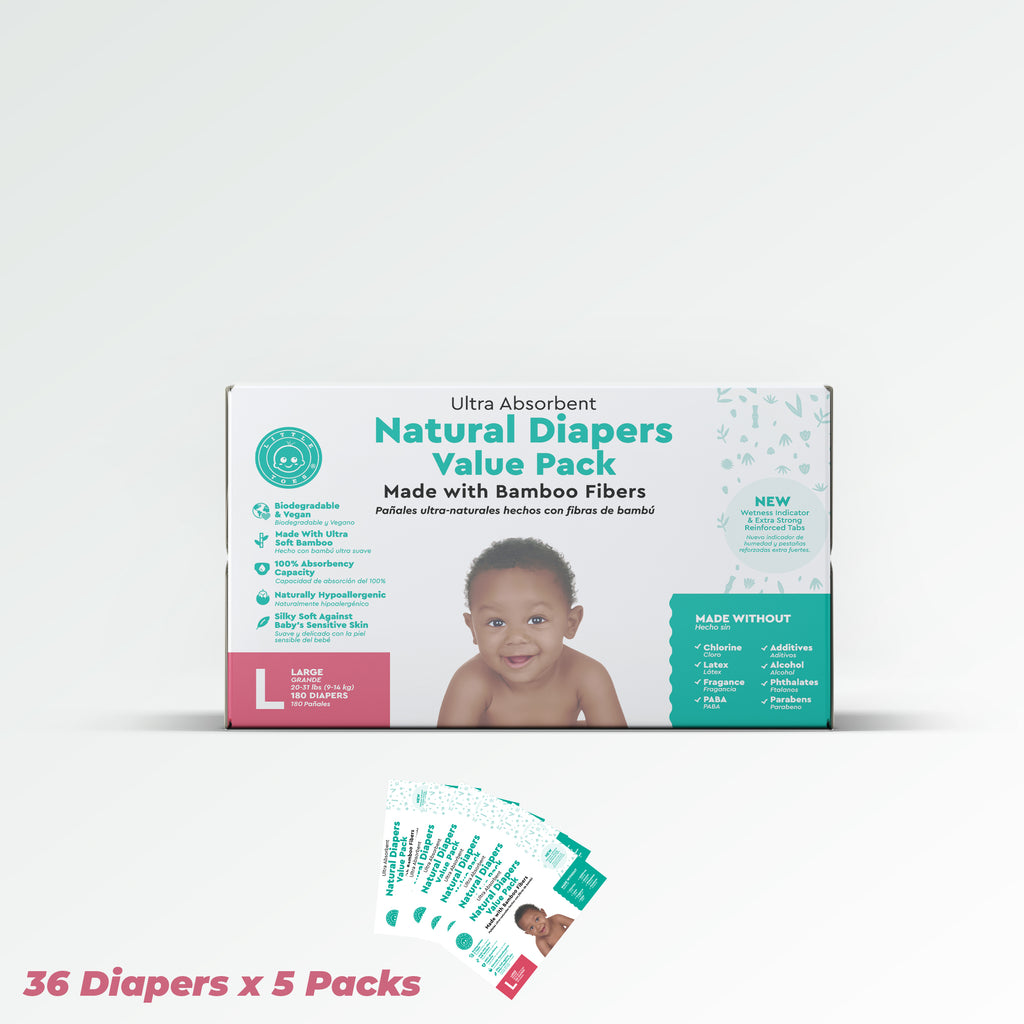 Little Toes Disposable Biodegradable Bamboo Diapers Monthly Value Pack (180 Count) - Size Large (for Babies 20-31 lbs.)