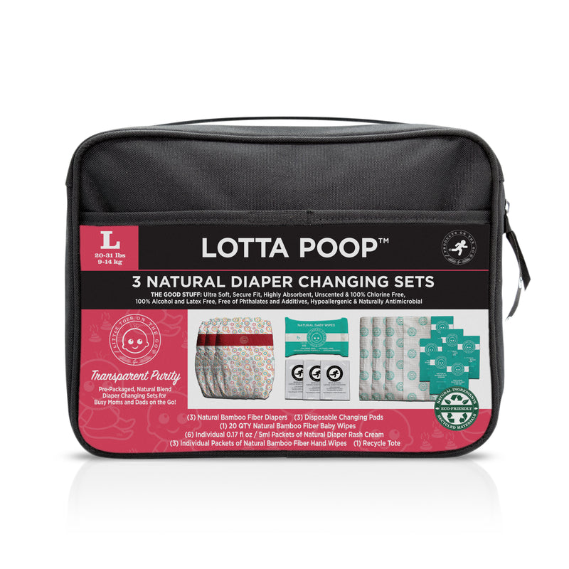 Lotta Poop | 3 Complete Diaper Change Sets | Size Large | Fabric Case (20-29 lbs)
