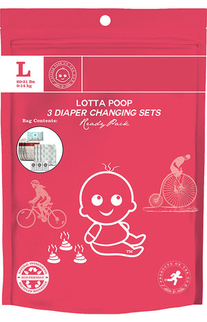 Lotta Poop VB | 3 Complete Diaper Change Sets | Size Large (20-29 lbs)
