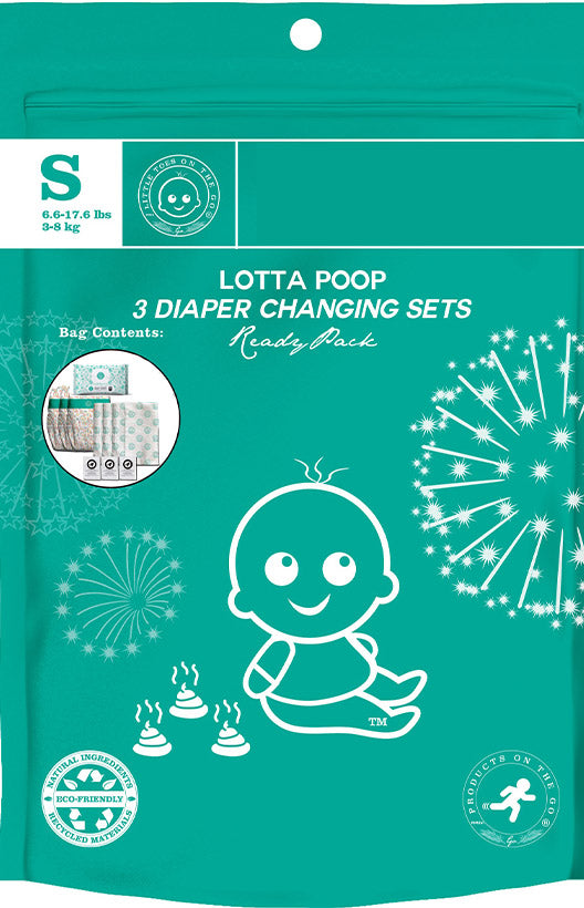 Lotta Poop VB | 3 Complete Diaper Change Sets | Size Small (8-17 lbs)