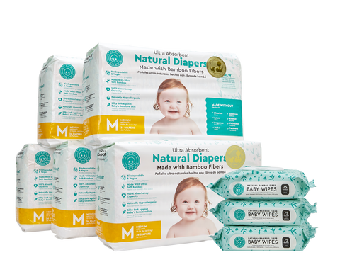 Little Toes Disposable Biodegradable Bamboo Diapers 180 Packs MEDIUM Monthly Subscription Pack