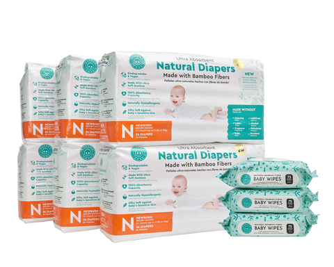 Little Toes Disposable Biodegradable Bamboo Diapers 216 Packs NEWBORN Monthly Subscription Pack