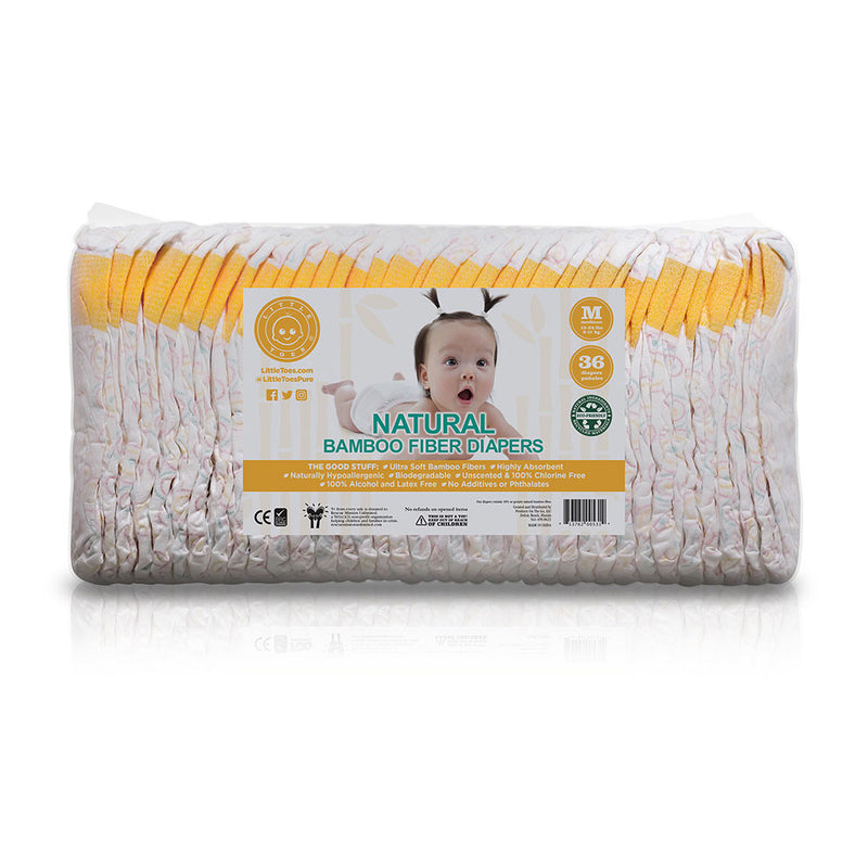 Little Toes Naturally Hypoallergenic and Biodegradable Premium Bamboo Diaper - 36-Pack (Medium)