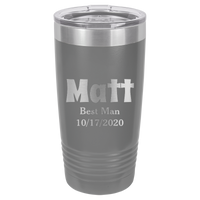 Dark Grey 20 oz Tumbler with Lid