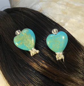 Turquoise Hearts with Tiny Zircons