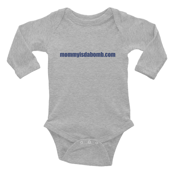 """mommyisdabomb.com"" Infant Long Sleeve Bodysuit - Blue Lettering"
