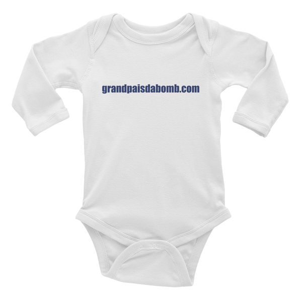 """grandpaisdabomb.com"" Infant Long Sleeve Bodysuit - Blue Lettering"