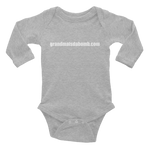 """grandmaisdabomb.com"" Infant Long Sleeve Bodysuit - White Lettering"