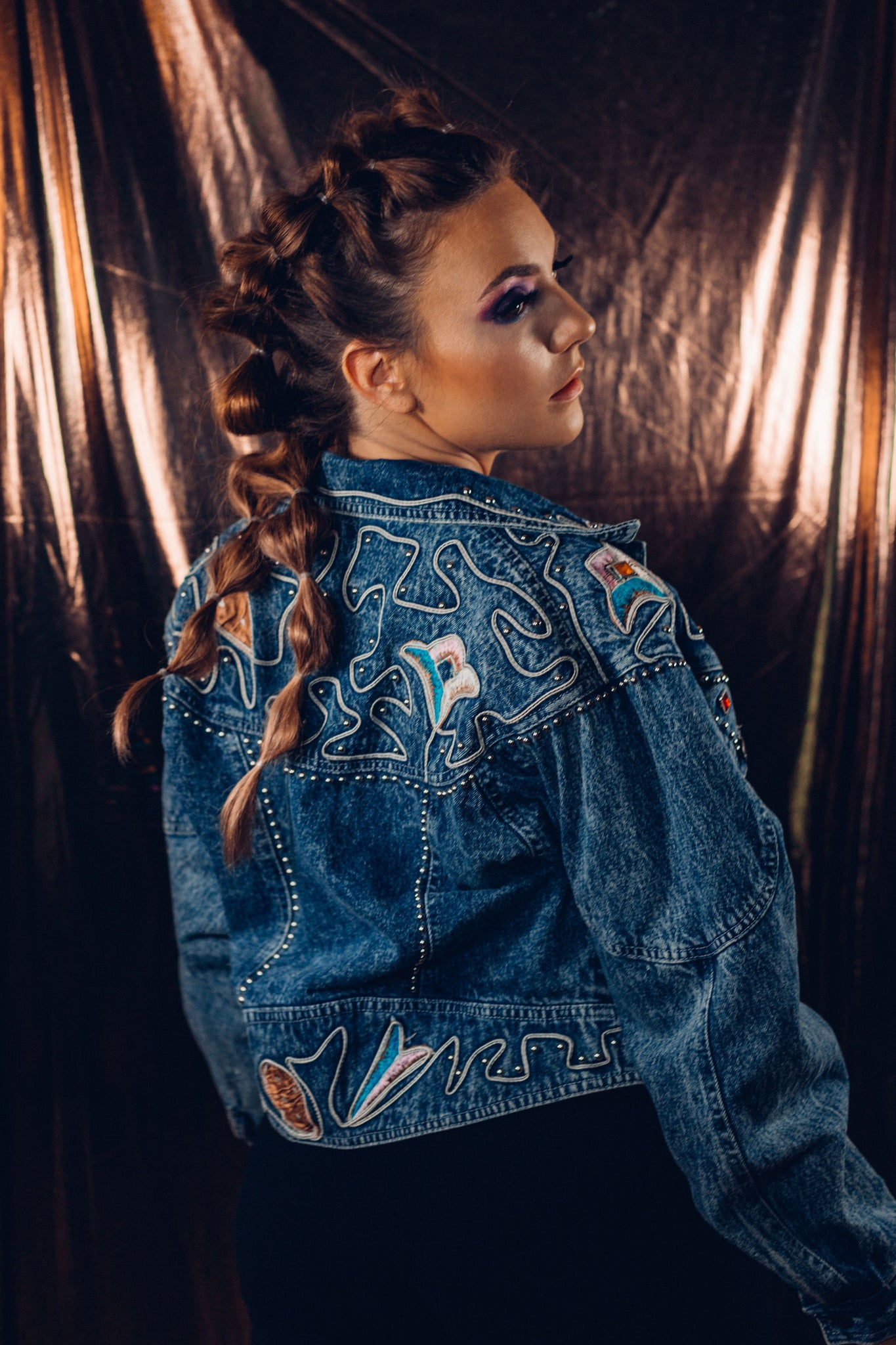 Vintage Main Jeans Embroidered Denim Crop Top Jacket - Gypsie Souls