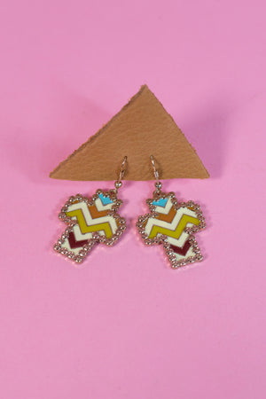 Multi Color Chevron Cross Earrings - Gypsie Souls