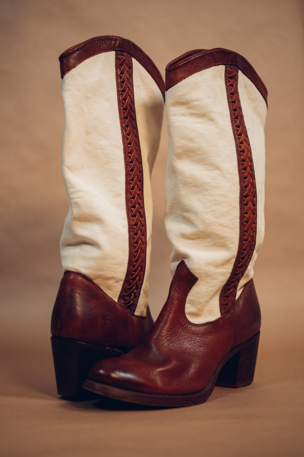 Vintage Fry Ivory and Brown Boots - Gypsie Souls