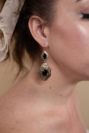 Gold & Black Crystal Earring - Gypsie Souls