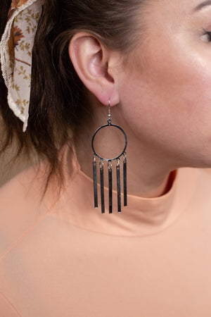 Silver 5 Bar Dangle Earrings - Gypsie Souls