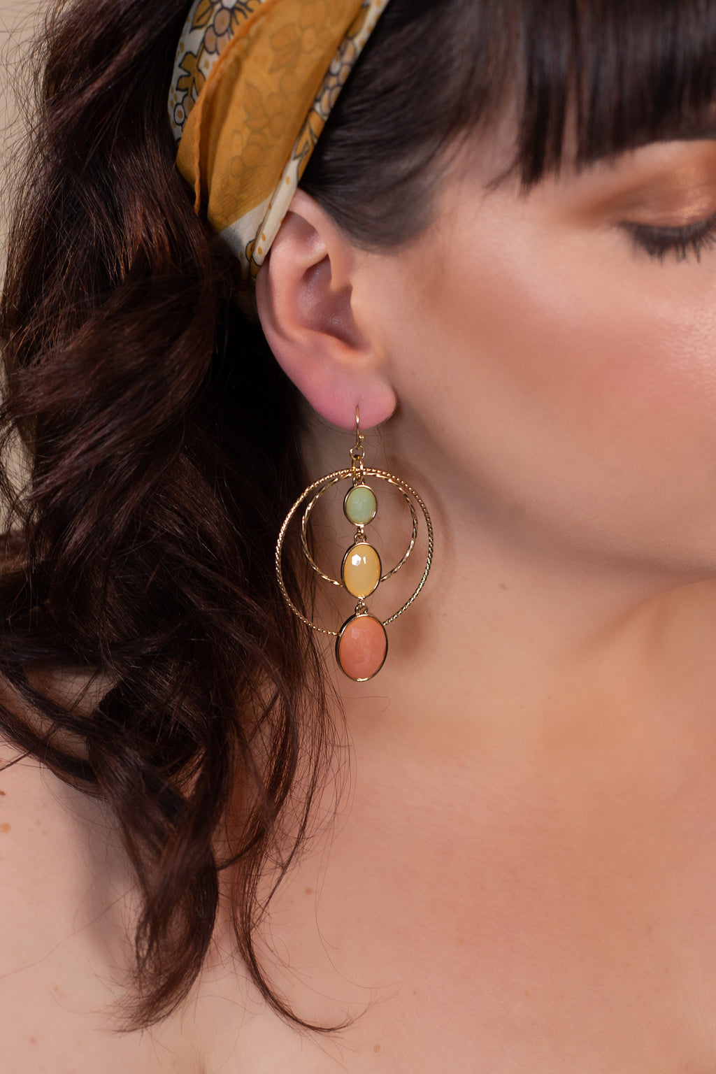 Gold Hoop Mixed Colors Earring - Gypsie Souls