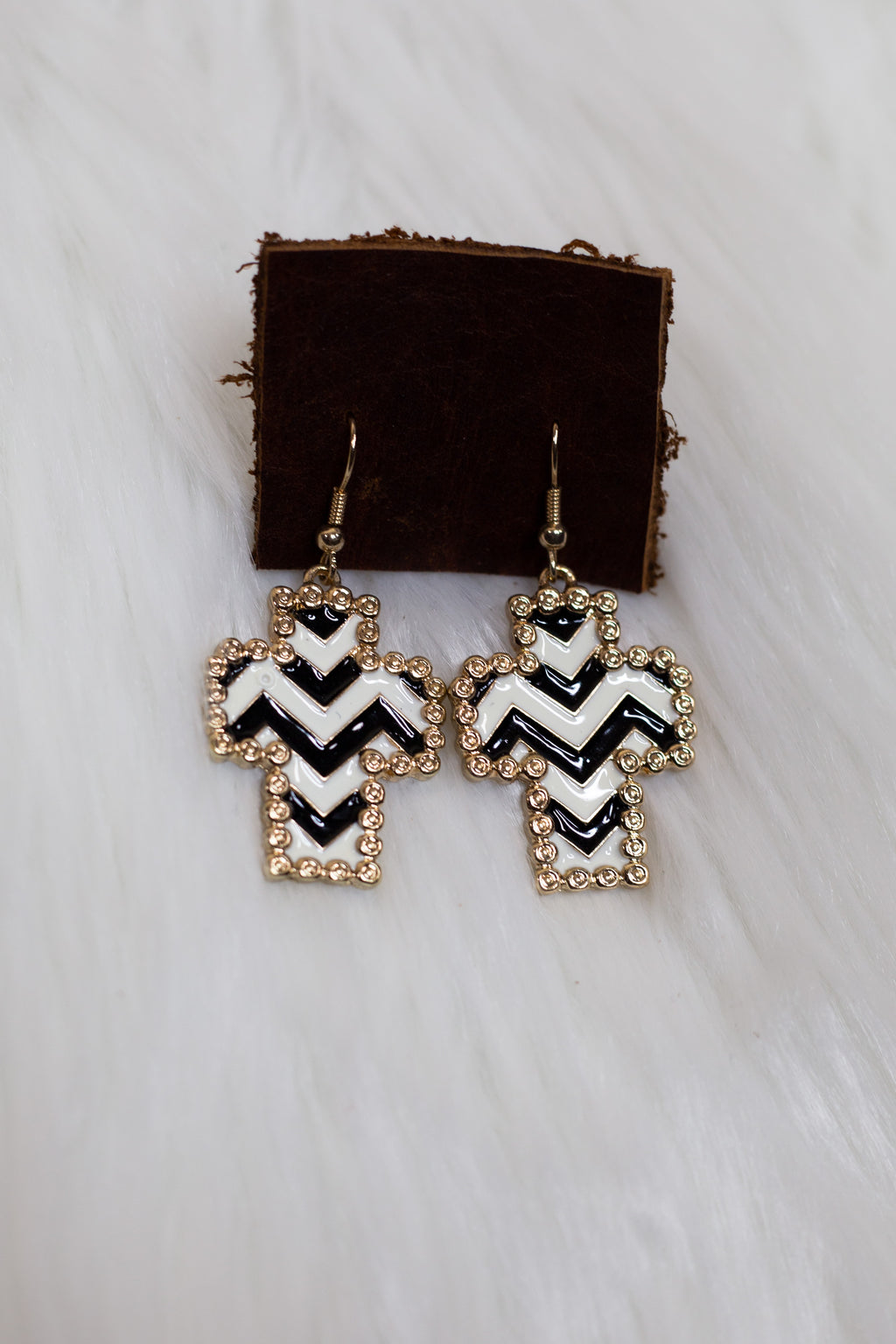 Zebra Cross Earrings - Gypsie Souls