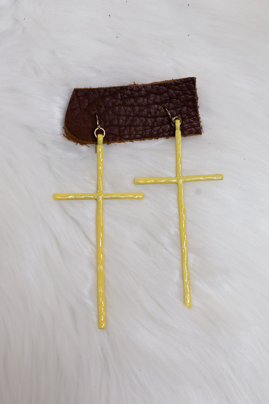 Yellow Cross Earrings - Gypsie Souls