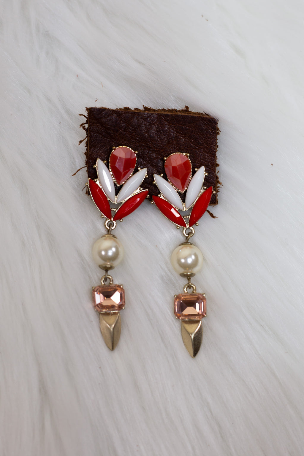 Red & White Pearl Earrings - Gypsie Souls