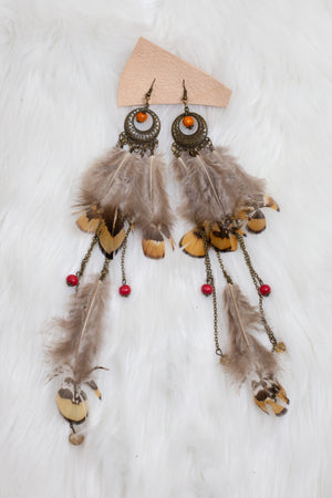 Tan Beaded Feather Earrings - Gypsie Souls