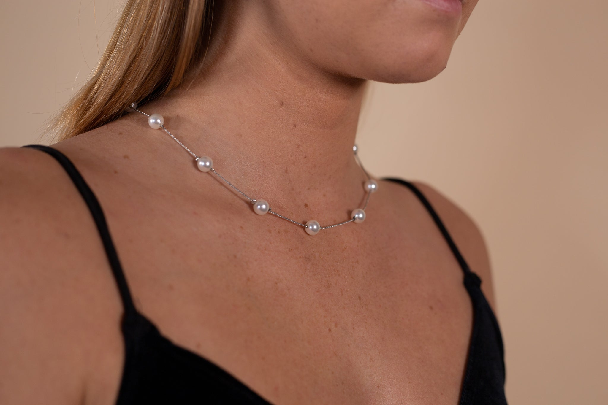 Silver Chain Pearl Necklace - Gypsie Souls