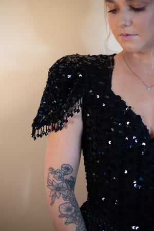 Vintage 80's Black Sequin Jumpsuit - Gypsie Souls