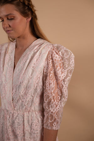 Vintage 80's GlenRob Full Lace Pink Dress - Gypsie Souls